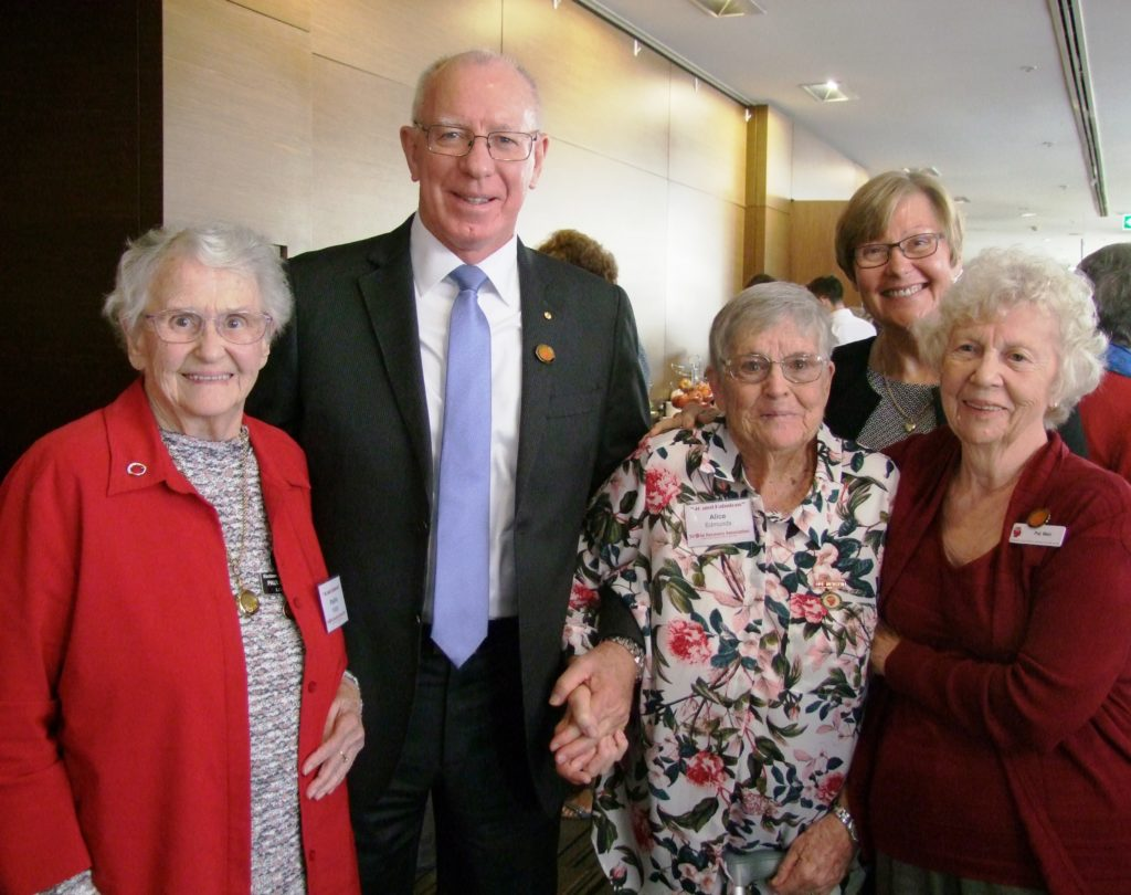Life members Alice Edwards from Tamworth Stroke Recovery Club, Pauline Hodge and Lynn Glandfield shared their experiences of the Association with Govenor Hurley.