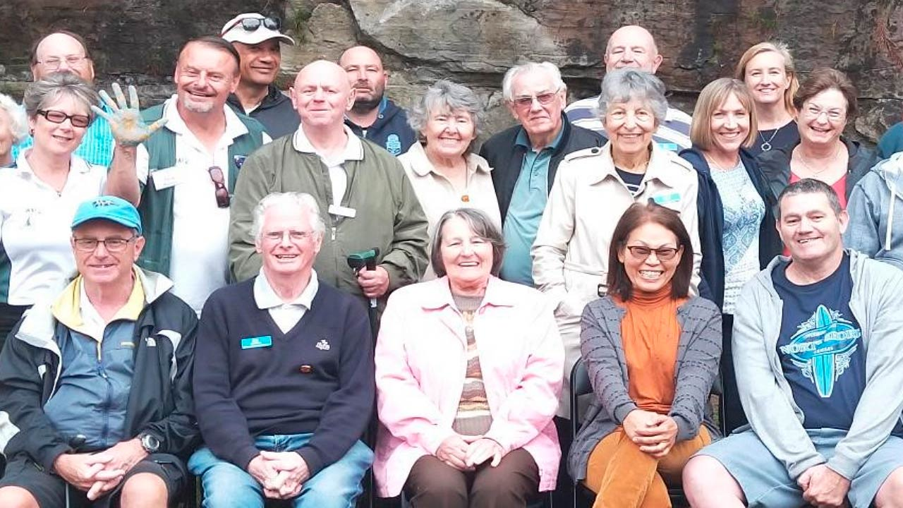 A group shote at the combines Stroke Recovery Clubs picnic